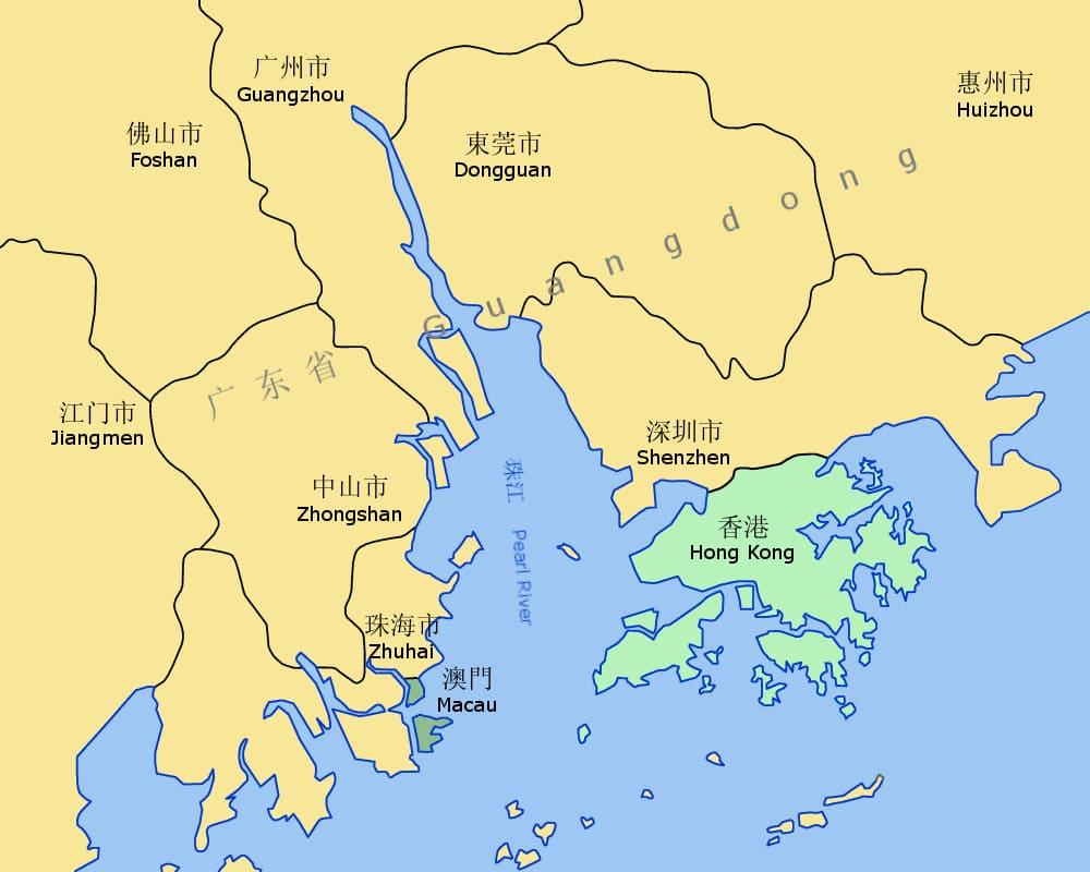 Река Чжуцзян на карте