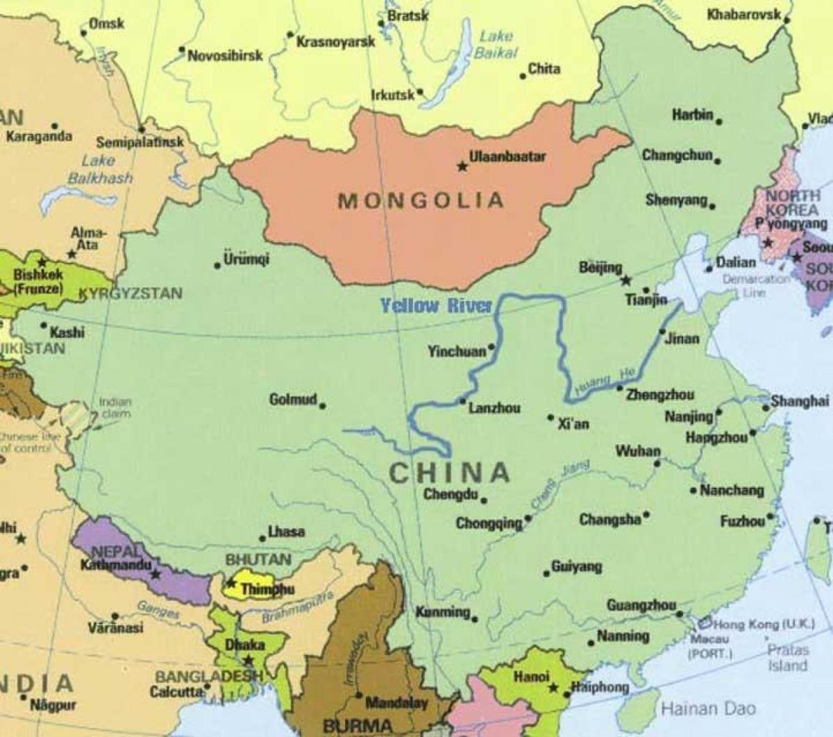 Река Хуанхэ на карте
