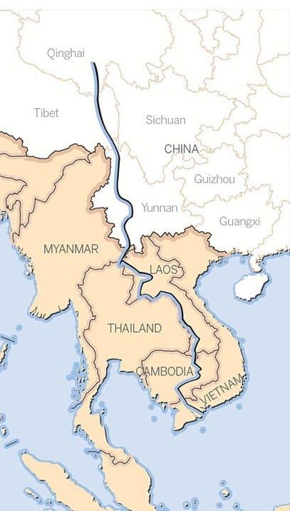 Река Ланканг на карте